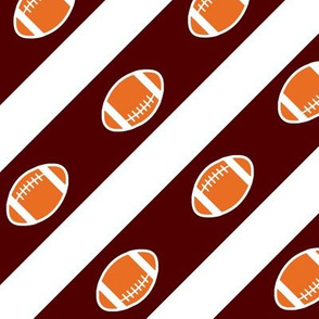 Football Stripes Texas Maroon  White