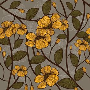 retro yellow flowers