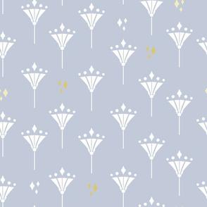 Art Deco Diamond flowers in bright blue.