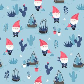 Succulent Garden - gnomes - dark blue