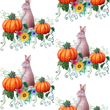 Rabbit and pumpkin Harvest Thanksgiving fabric by magentarosedesigns on Spoonflower - custom fabric