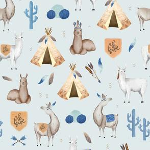 Be Brave Llama - blue watercolor