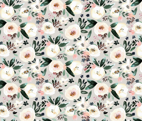 Florista-light gray fabric by crystal_walen on Spoonflower - custom fabric