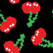 Pacman Cherries Digital Bitmap Pattern on Black