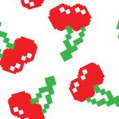 Pacman Cherries Digital Bitmap Pattern on Blue