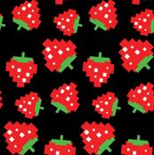 Pacman Strawberries Pattern on Black