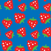 Pacman Strawberries Pattern on Blue