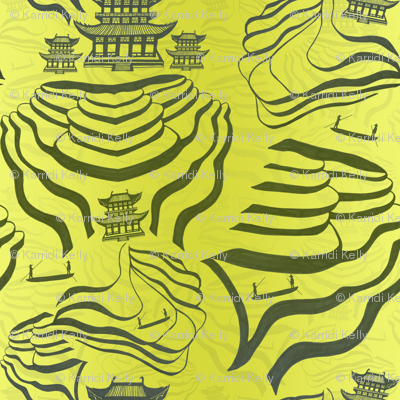 Rice fields in green/grey on a yellow green