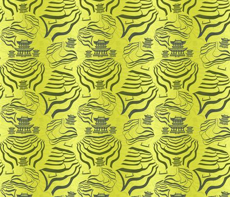 Rice fields in green/grey on a yellow green  fabric by #artbykarridi on Spoonflower - custom fabric