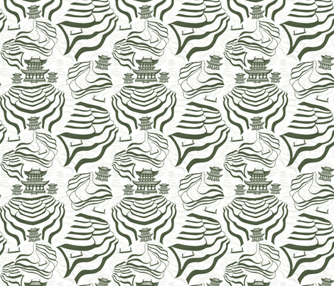 Rice Fields in green/grey and white fabric by #artbykarridi on Spoonflower - custom fabric