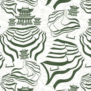 Rice Fields in green/grey and white