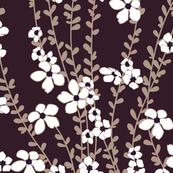 White Floral Sepia Vines