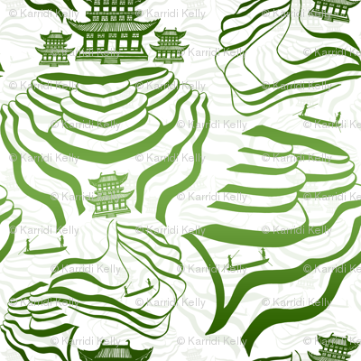 Rice fields in green on white