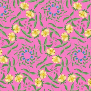 Victorian Garden Pale Yellow Flowers on Pink