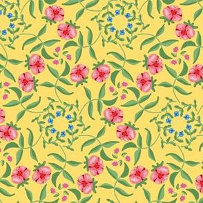 Victorian Garden Pink Flowers on Soft Yellow