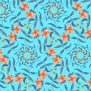 Victorian Garden Coral Flowers on Sky Blue with Grayed Blue Leaves