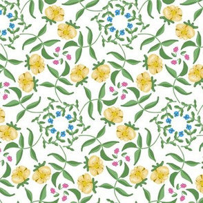 Victorian Garden Pale Yellow Flowers on White