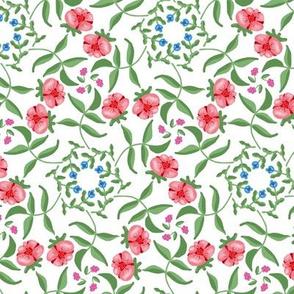 Victorian Garden Pink Flowers on White