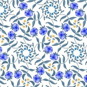 Victorian Garden Blue Flowers on White