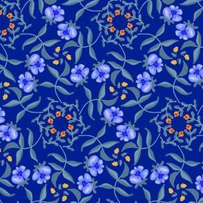 Victorian Garden Blue Flowers on Royal Blue