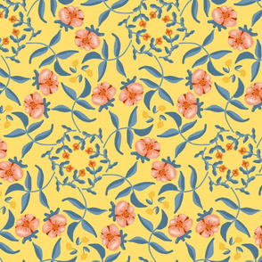 Victorian Garden Coral Flowers on Soft Yellow with Grayed Blue Leaves