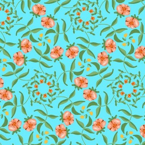 Victorian Garden Coral Flowers on Sky Blue
