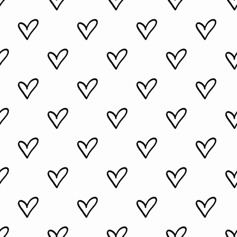 2 Hand Drawn Heart Outline Pattern Black And White Collection