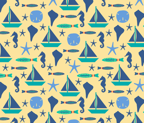 Beach Sailing Yellow Blue Large fabric by phyllisdobbs on Spoonflower - custom fabric