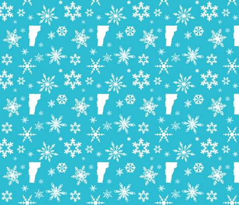 Vermont Snowflakes Teal fabric by bags29 on Spoonflower - custom fabric