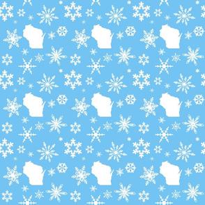 Wisconsin Snowflakes Blue