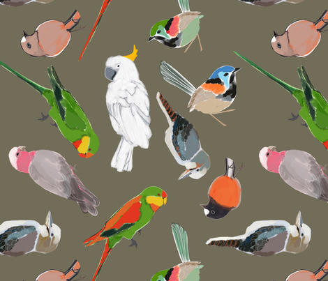 A pair of parrots amongst friends olive fabric by robynhammonddesign on Spoonflower - custom fabric