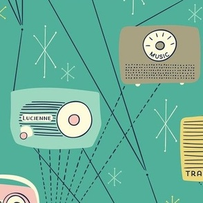 Mid-century Transistor Radio and Atomic Stars