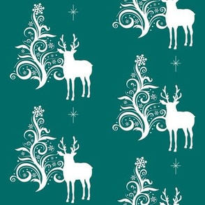 Buck with stylized tree teal