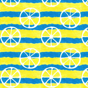 Yellow and Blue striped with Lemons