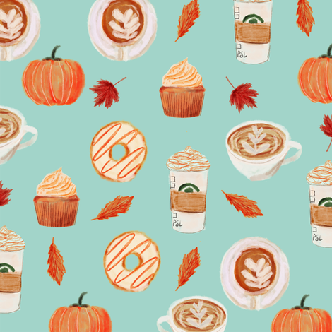 watercolor psl - pumpkin spice latte, coffee, latte, pumpkin, fall, autumn fabric - mint fabric by charlottewinter on Spoonflower - custom fabric