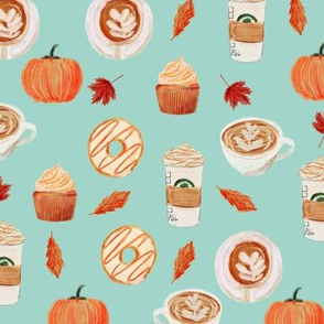 watercolor psl - pumpkin spice latte, coffee, latte, pumpkin, fall, autumn fabric - mint