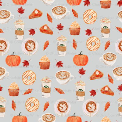 watercolor psl - pumpkin spice latte, coffee, latte, pumpkin, fall, autumn fabric - grey
