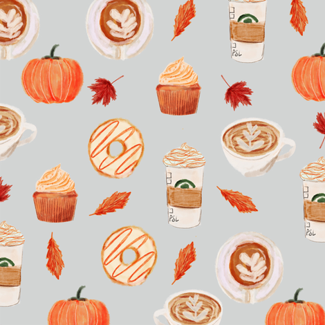 watercolor psl - pumpkin spice latte, coffee, latte, pumpkin, fall, autumn fabric - grey fabric by charlottewinter on Spoonflower - custom fabric