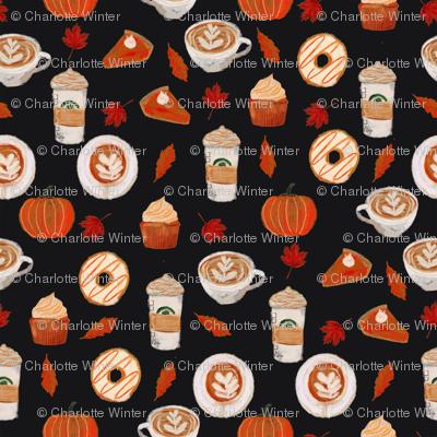 watercolor psl - pumpkin spice latte, coffee, latte, pumpkin, fall, autumn fabric - black
