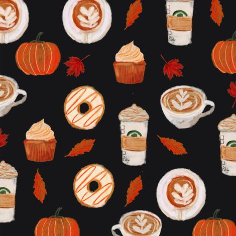 watercolor psl - pumpkin spice latte, coffee, latte, pumpkin, fall, autumn fabric - black fabric by charlottewinter on Spoonflower - custom fabric