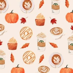 watercolor psl - pumpkin spice latte, coffee, latte, pumpkin, fall, autumn fabric - cream