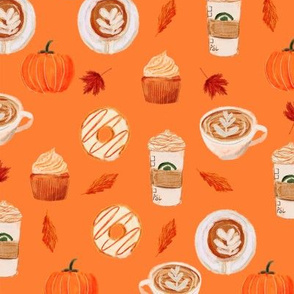 watercolor psl - pumpkin spice latte, coffee, latte, pumpkin, fall, autumn fabric -orange