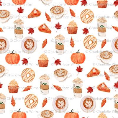 watercolor psl - pumpkin spice latte, coffee, latte, pumpkin, fall, autumn fabric - white