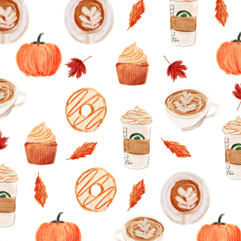watercolor psl - pumpkin spice latte, coffee, latte, pumpkin, fall, autumn fabric - white fabric by charlottewinter on Spoonflower - custom fabric