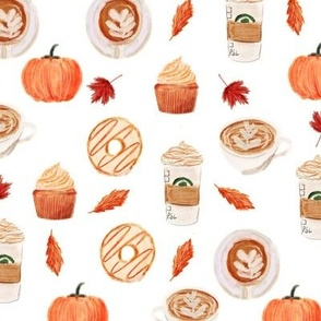 watercolor psl - pumpkin spice latte, coffee, latte, pumpkin, fall, autumn fabric - white