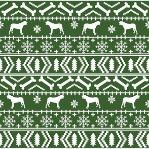 english mastiff fair isle - sweater, holiday, xmas, christmas, dog breed design - green