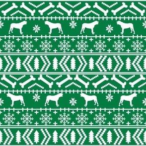 english mastiff fair isle - sweater, holiday, xmas, christmas, dog breed design -  bright green