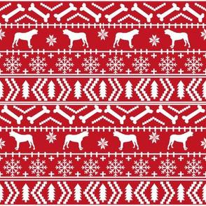 english mastiff fair isle - sweater, holiday, xmas, christmas, dog breed design - red