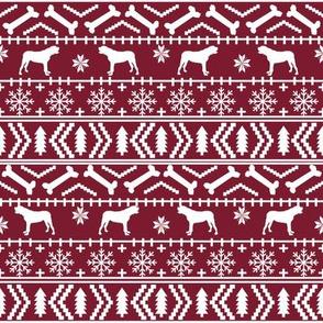 english mastiff fair isle - sweater, holiday, xmas, christmas, dog breed design - burgundy