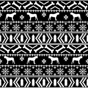 english mastiff fair isle - sweater, holiday, xmas, christmas, dog breed design - black